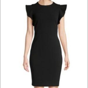Calvin Klein Ruffle Cap Sheath Black Dress Sz 8